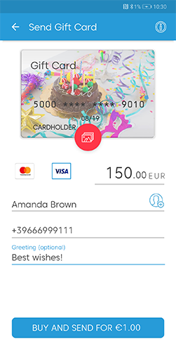 Gift cards feature screen
