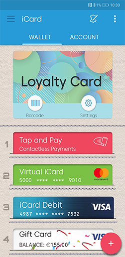Loyalty cards feature screen